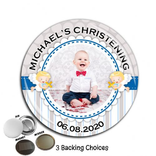 Large 75mm Personalised Boys Christening Baptism PHOTO Badge N60
